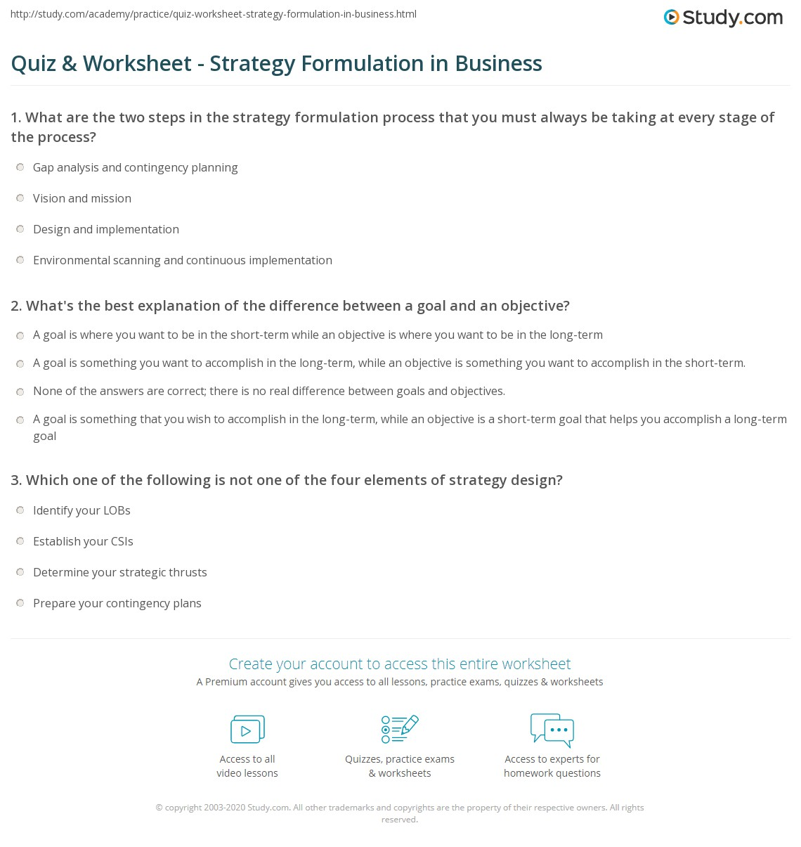 quiz & worksheet - strategy formulation in business | study