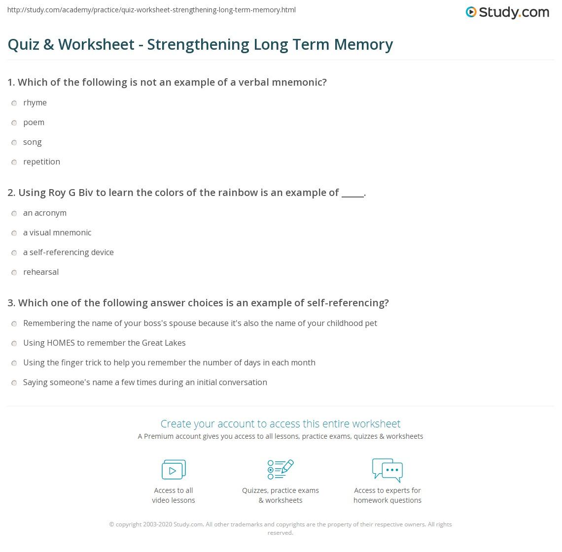 quiz worksheet strengthening long term memory. Black Bedroom Furniture Sets. Home Design Ideas