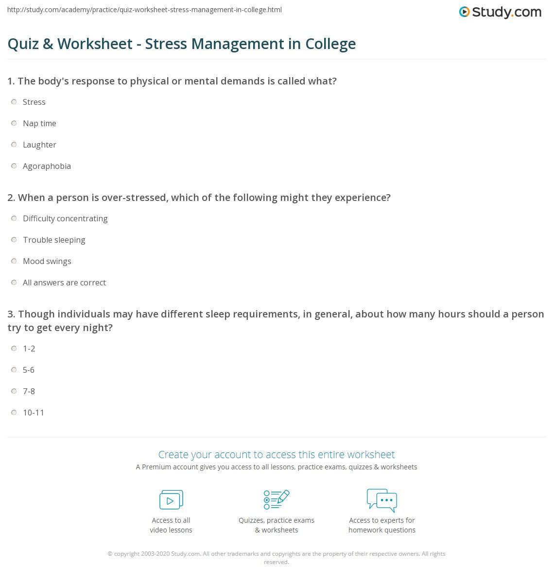 Quiz Worksheet Stress Management In College Study