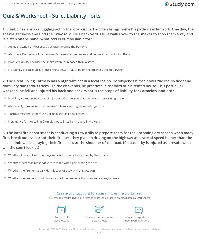 Quiz & Worksheet - Strict Liability Torts | Study com