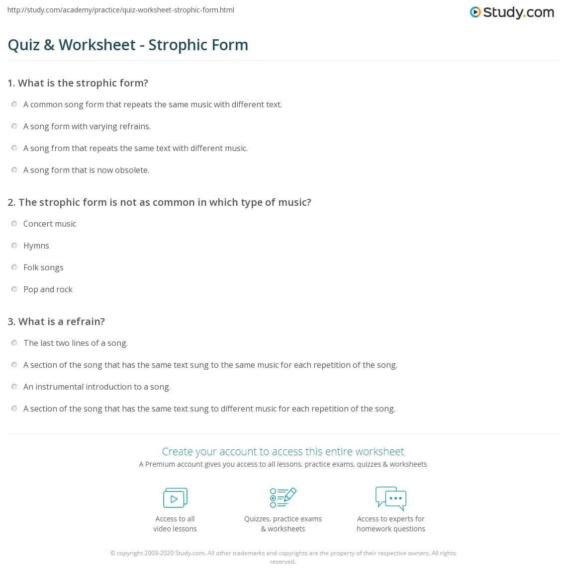Quiz & Worksheet - Strophic Form | Study.com