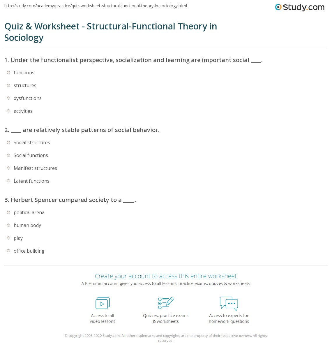 Quiz Worksheet Structural Functional Theory In Sociology
