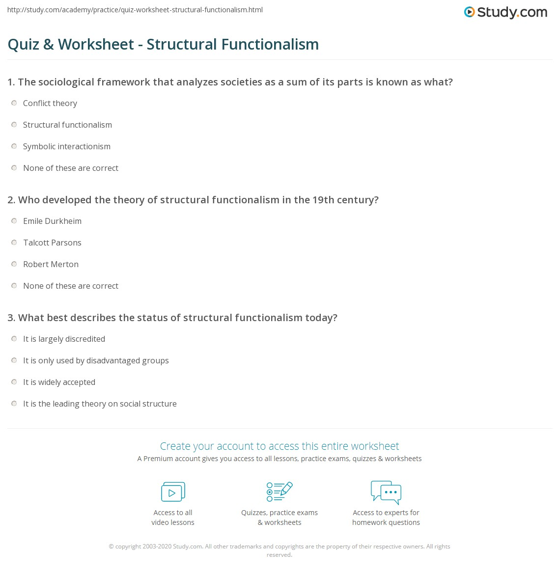 Quiz Worksheet Structural Functionalism Study