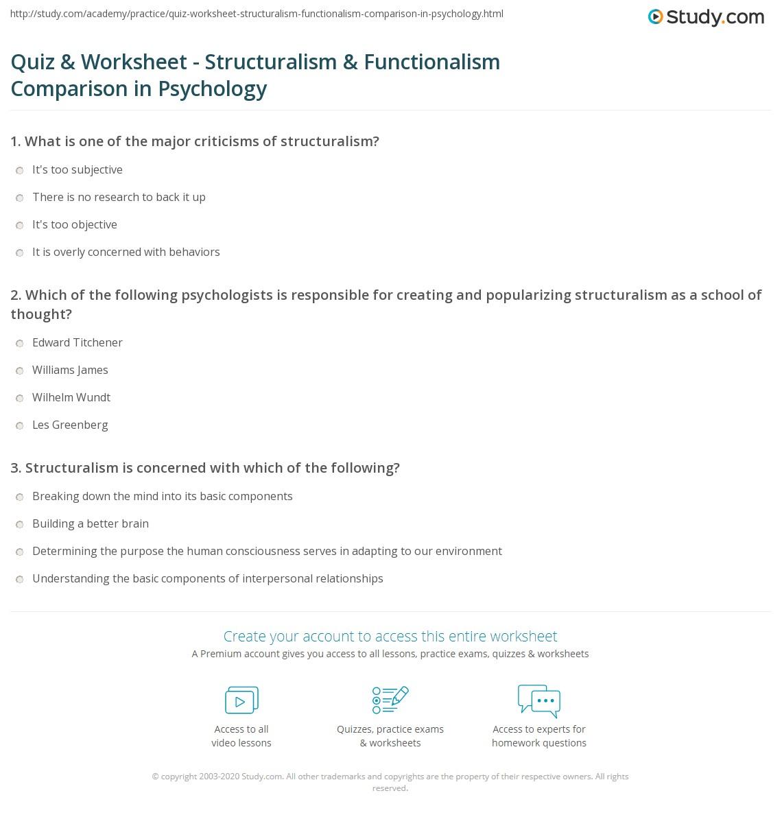 Workbooks psychology worksheets : Quiz & Worksheet - Structuralism & Functionalism Comparison in ...