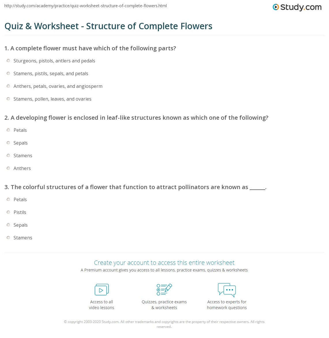 Quiz & Worksheet - Structure of Complete Flowers | Study.com