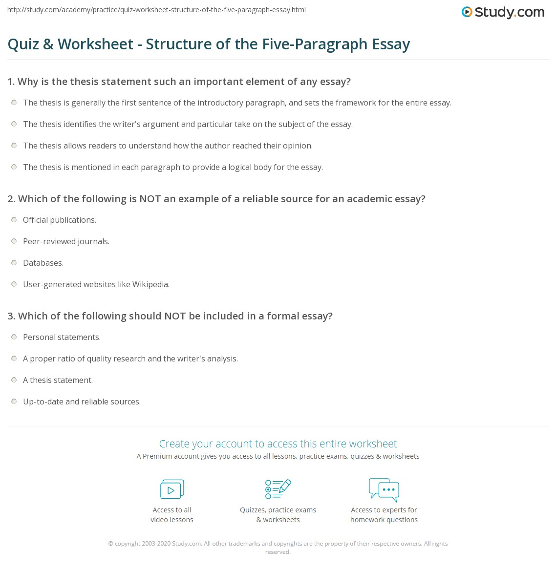 Quiz  Worksheet  Structure Of The Fiveparagraph Essay  Studycom Print Basic Essay Structure The Fiveparagraph Essay Worksheet