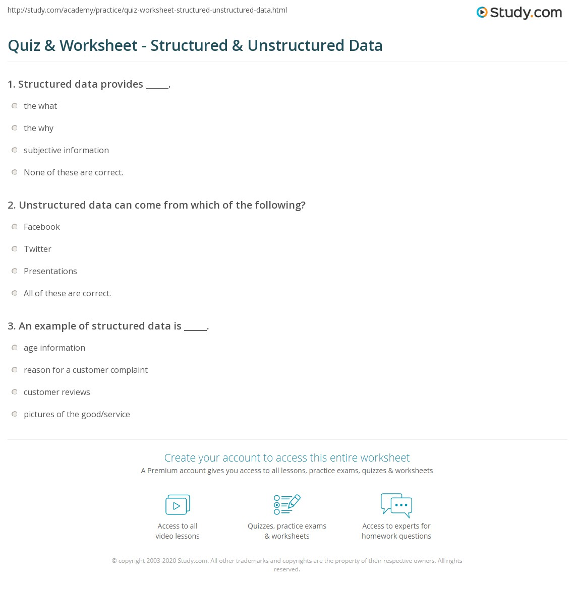 quiz & worksheet - structured & unstructured data | study