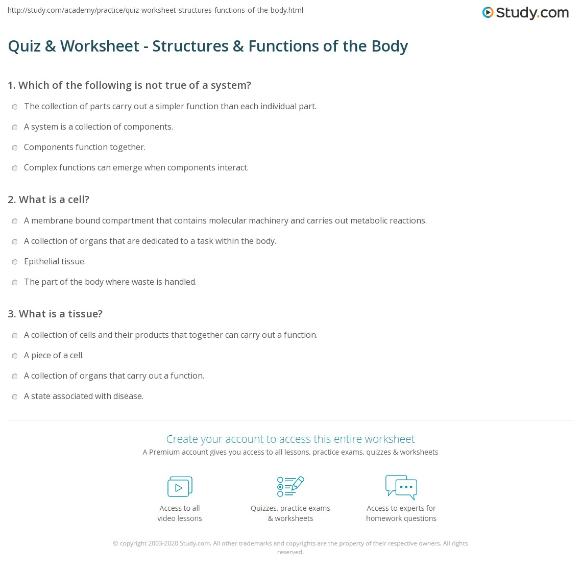 worksheet How The Body Works Worksheets quiz worksheet structures functions of the body study com print basic human worksheet