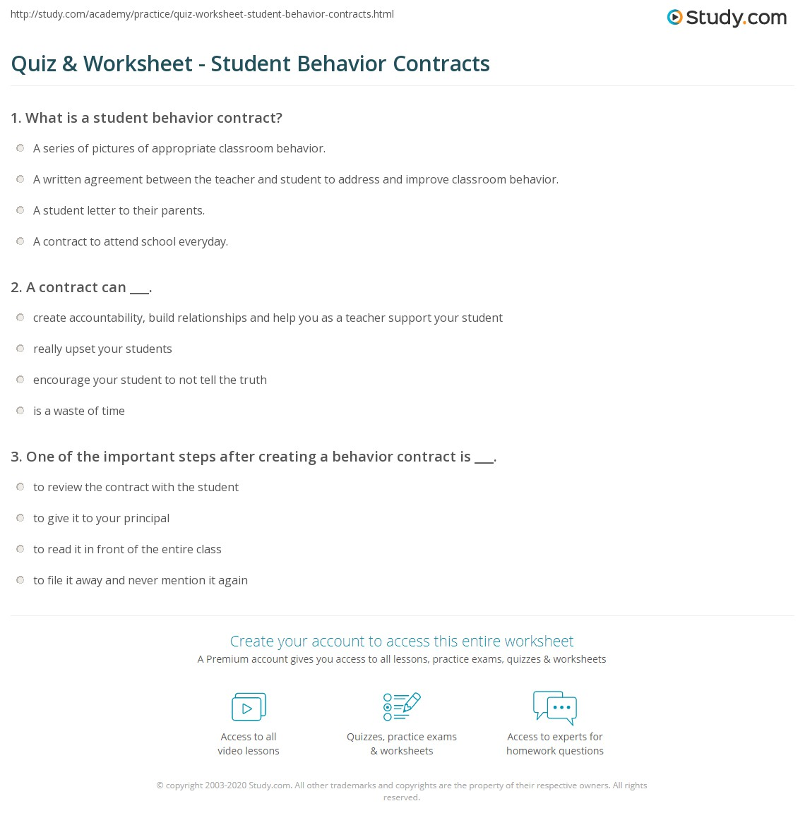 print student behavior contracts examples and templates worksheet