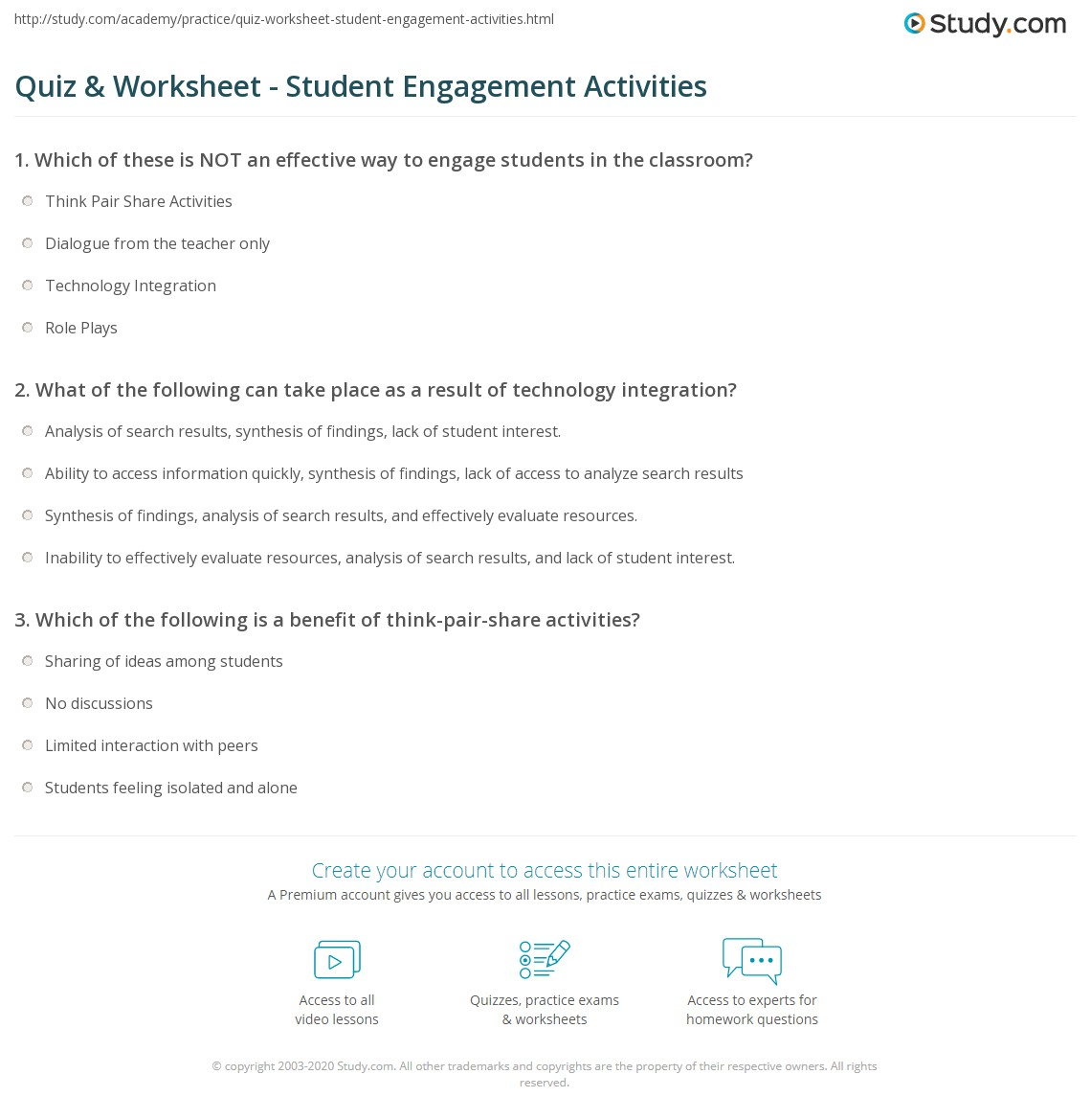 Quiz & Worksheet - Student Engagement Activities | Study com