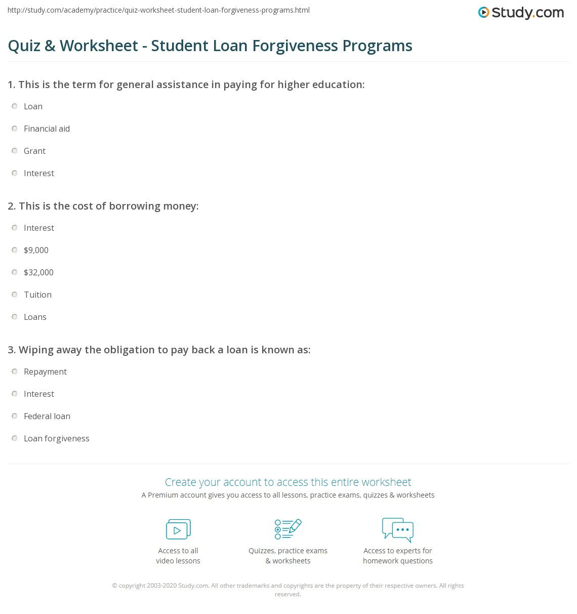 Worksheets Student Loan Worksheet quiz worksheet student loan forgiveness programs study com print definition options worksheet