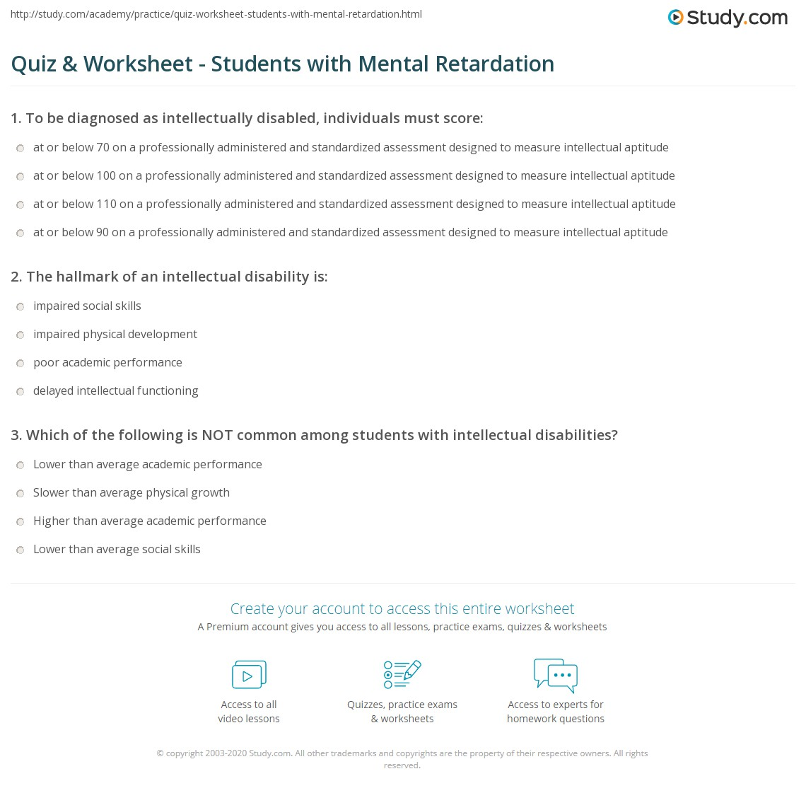 Quiz & Worksheet - Students with Mental Retardation | Study.com