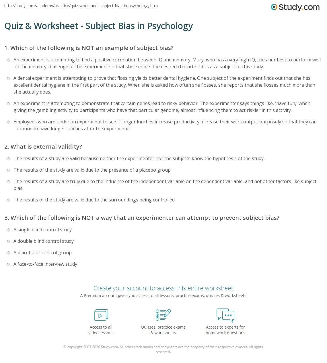 quiz worksheet subject bias in psychology. Black Bedroom Furniture Sets. Home Design Ideas