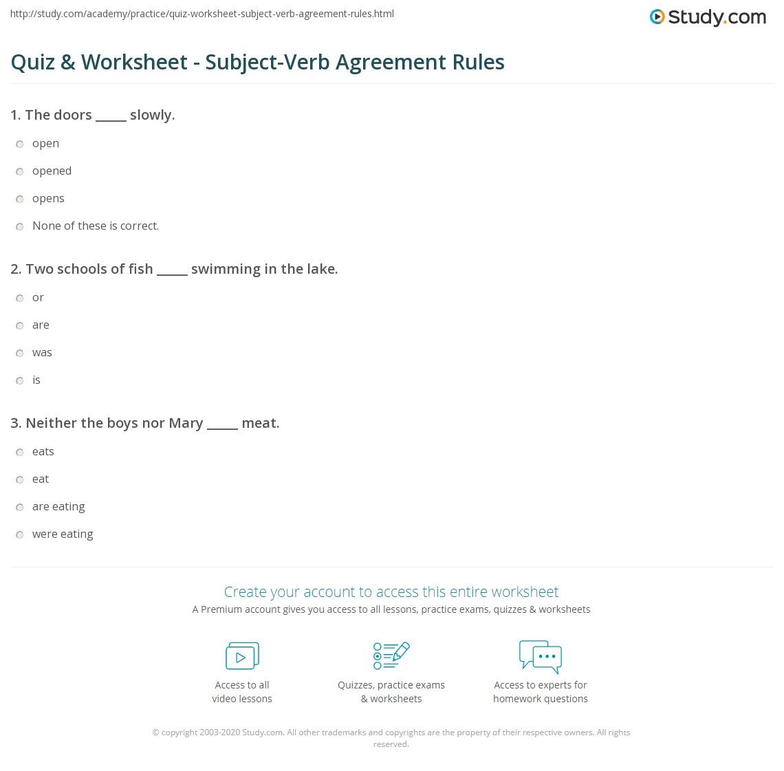 Quiz Worksheet Subject Verb Agreement Rules Study