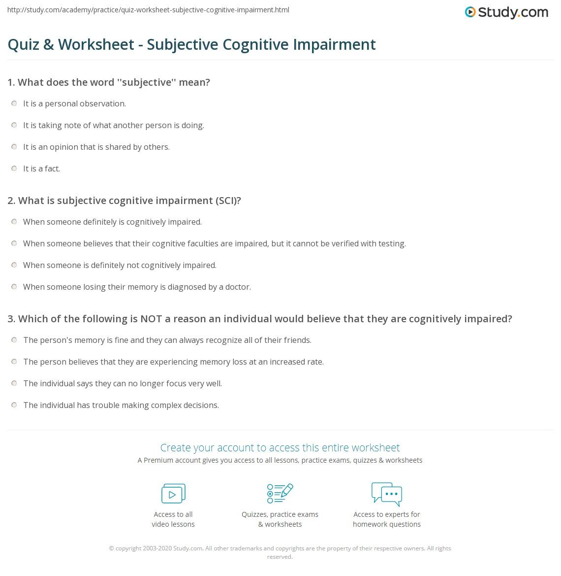 Quiz & Worksheet Subjective Cognitive Impairment