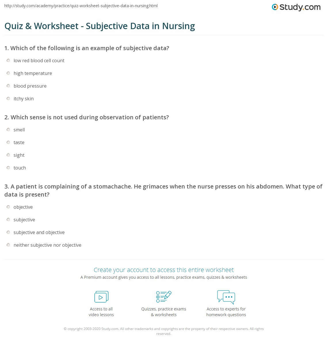 quiz worksheet subjective data in nursing. Black Bedroom Furniture Sets. Home Design Ideas