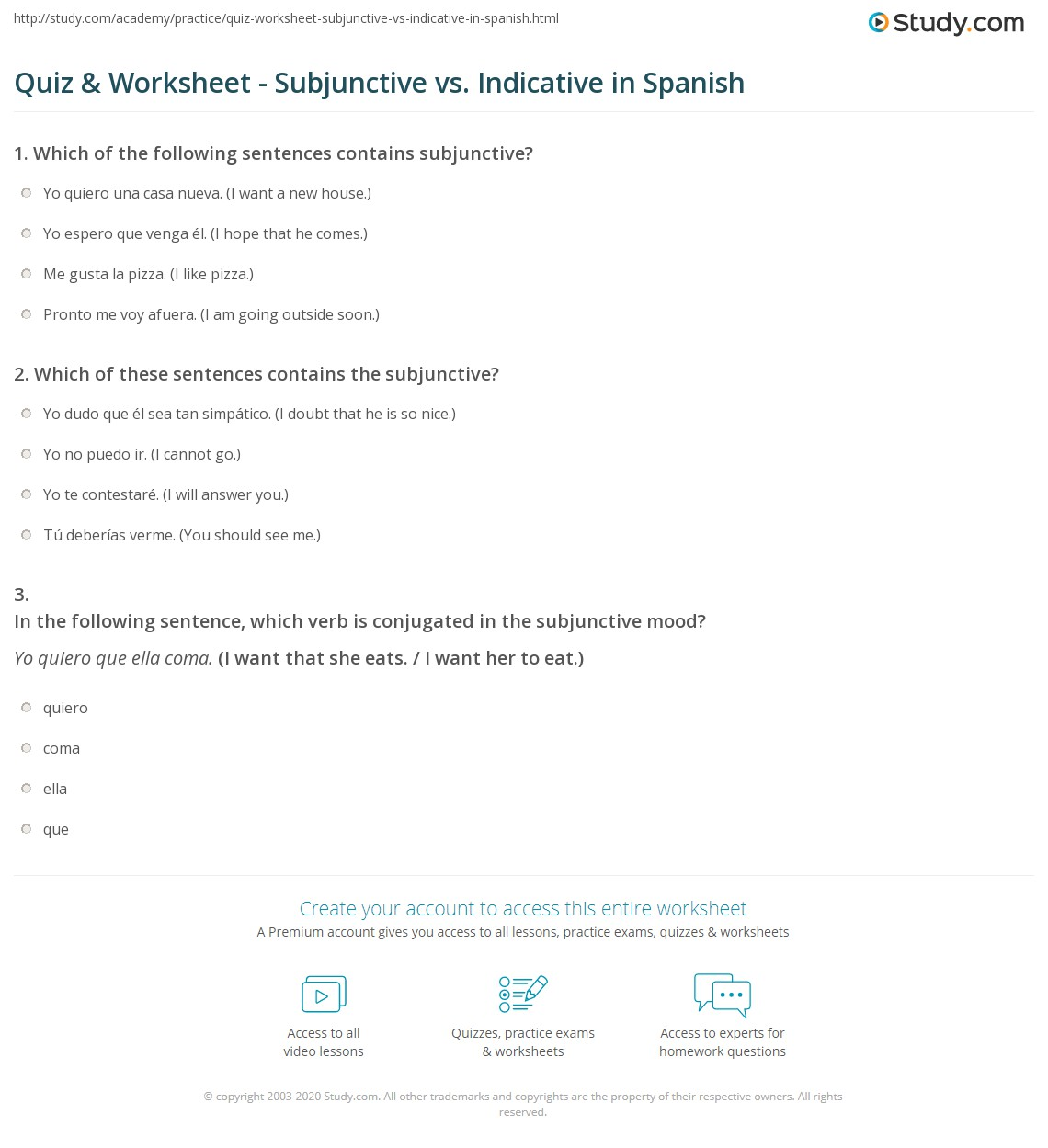 Quiz Worksheet Subjunctive Vs Indicative In Spanish Study