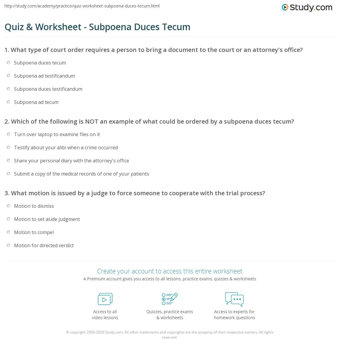 Quiz & Worksheet - Subpoena Duces Tecum | Study.com