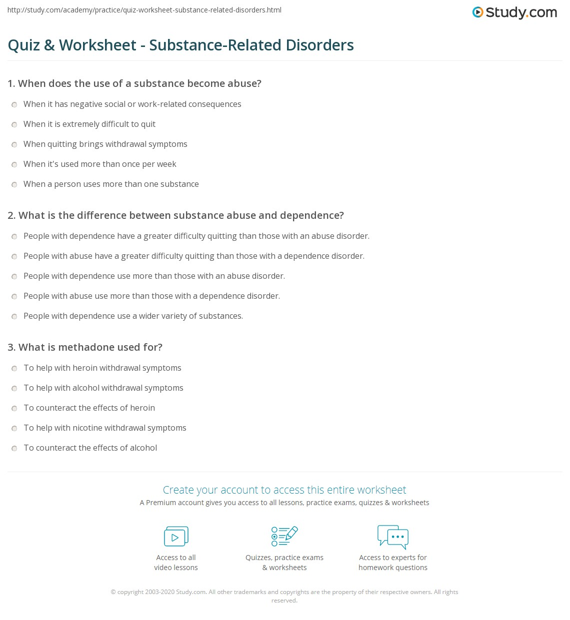 quiz & worksheet - substance-related disorders | study
