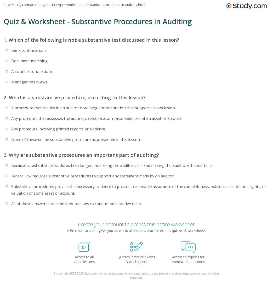 Substantive Procedures In Auditing