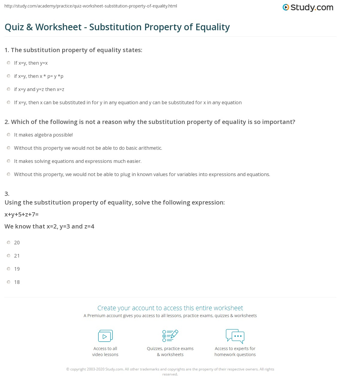 Quiz Worksheet Substitution Property Of Equality Study Com