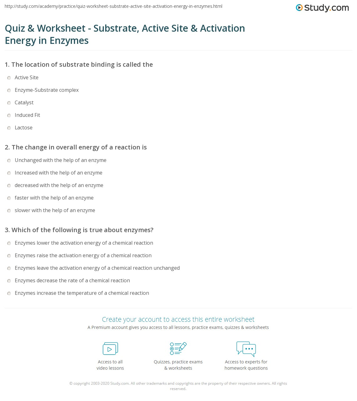 Quiz & Worksheet - Substrate, Active Site & Activation ...