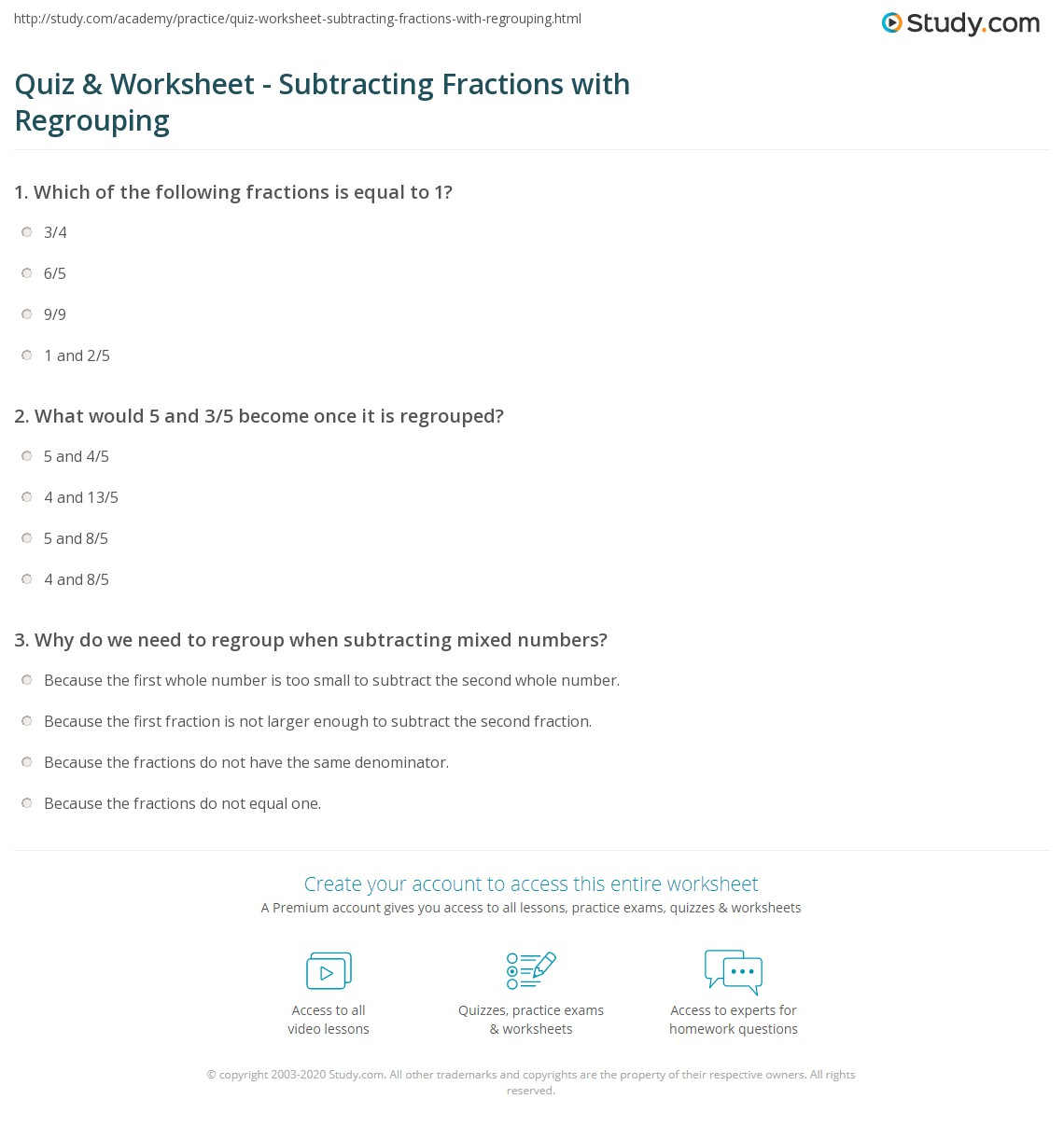 Quiz Worksheet Subtracting Fractions With Regrouping