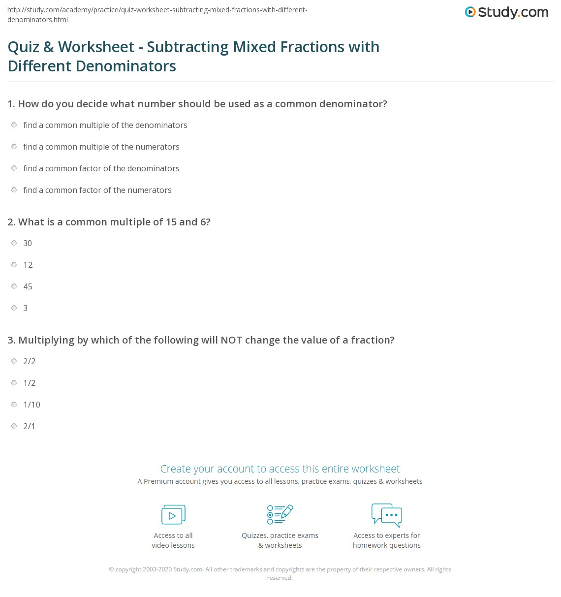 Quiz Worksheet Subtracting Mixed Fractions With Different