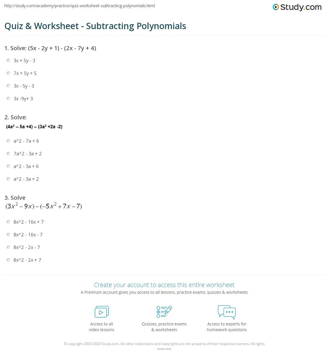 Worksheets Subtracting Polynomials Worksheet quiz worksheet subtracting polynomials study com print examples concept worksheet