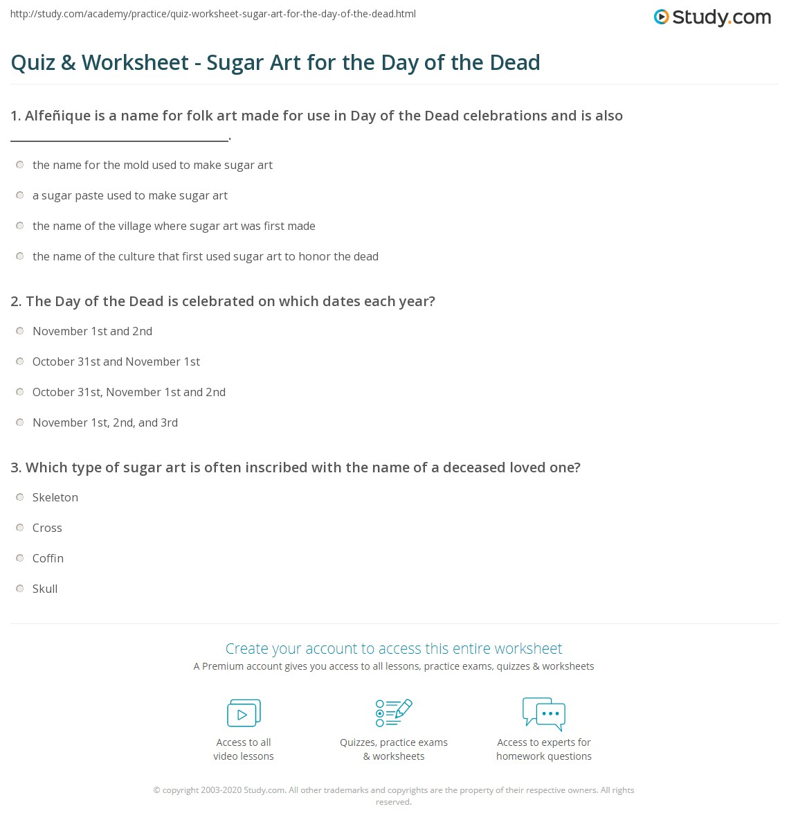 Quiz Worksheet Sugar Art For The Day Of The Dead Study