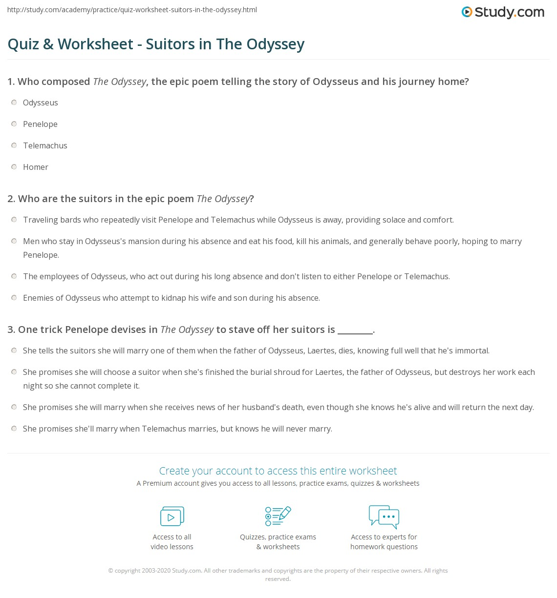 odyssey essay test questions The odyssey unit test essay: answer the following question in at least three paragraphs the odyssey questions books 1-4.