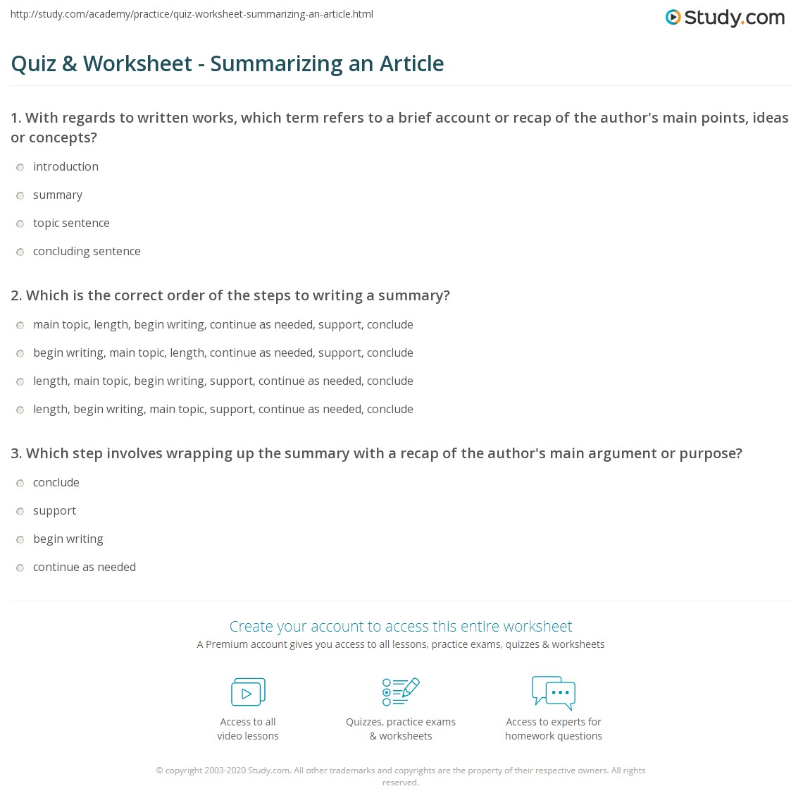 Worksheets Summarizing Worksheets quiz worksheet summarizing an article study com print how to write a summary of worksheet