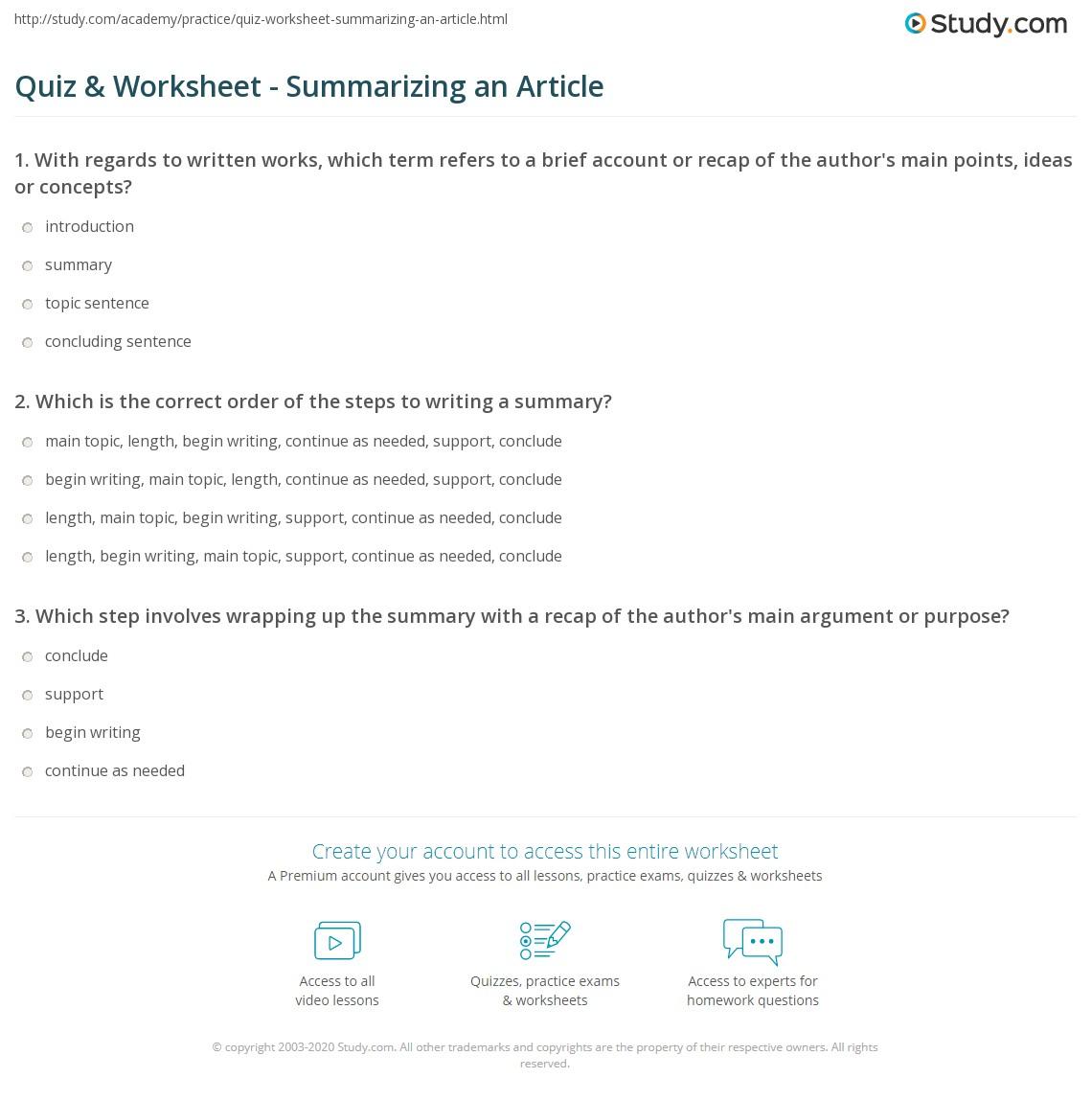 Uncategorized Summarizing Worksheet quiz worksheet summarizing an article study com print how to write a summary of worksheet