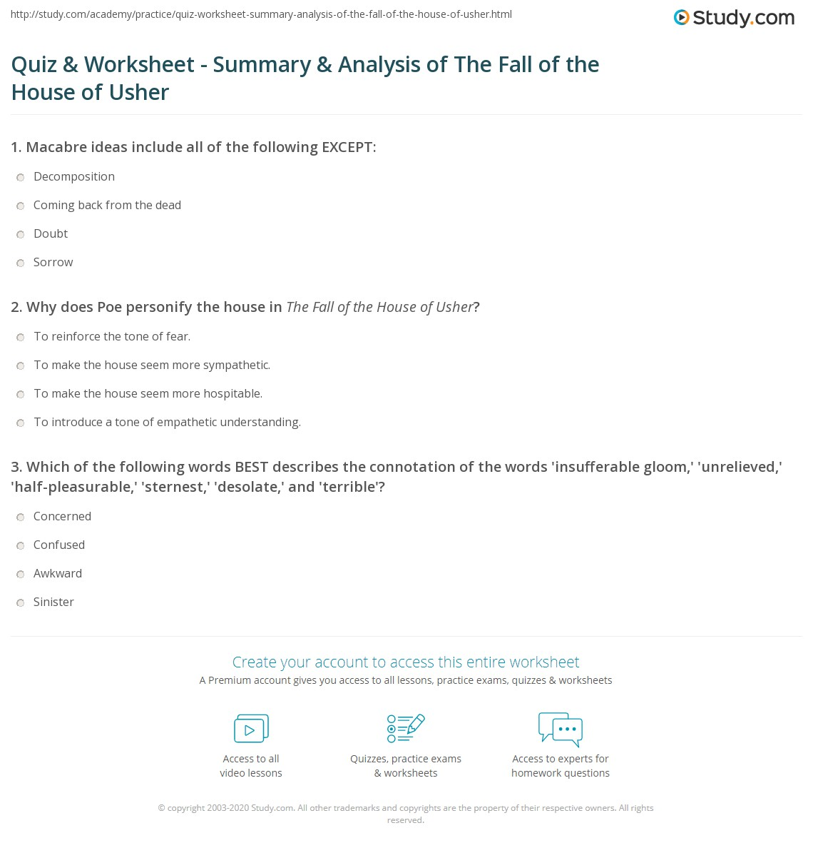 quiz worksheet summary analysis of the fall of the house of  print poe s the fall of the house of usher summary and analysis worksheet