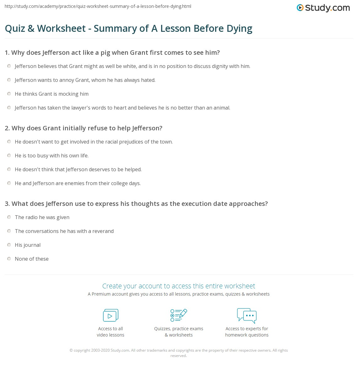 a lesson before dying complete summary A lesson before dying study guide contains a biography of ernest j  quiz  questions, major themes, characters, and a full summary and.