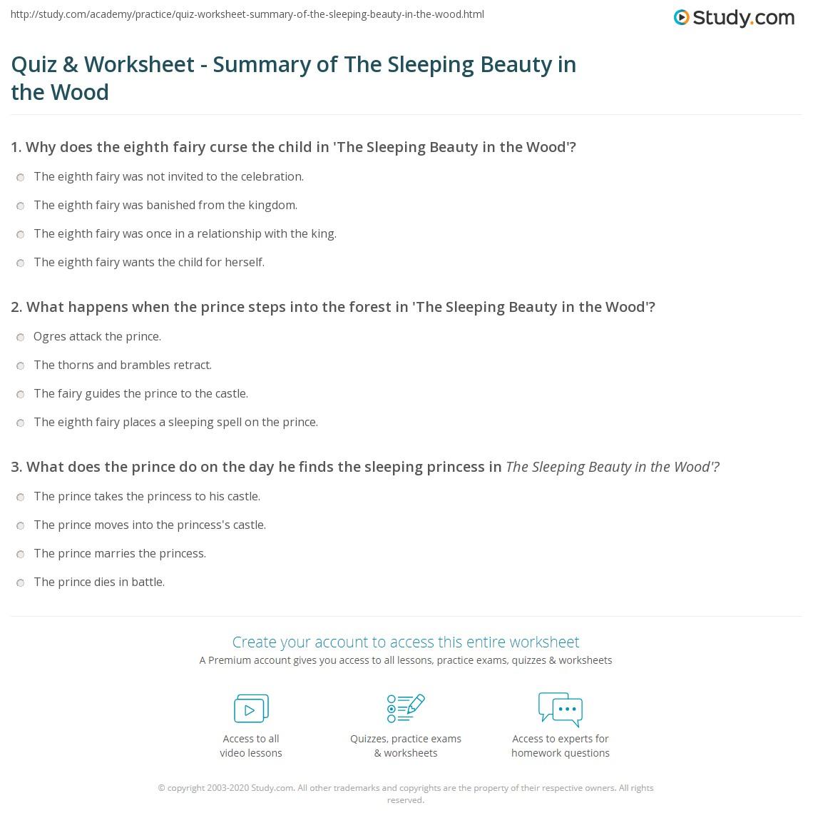 Quiz & Worksheet - Summary of The Sleeping Beauty in the Wood ...