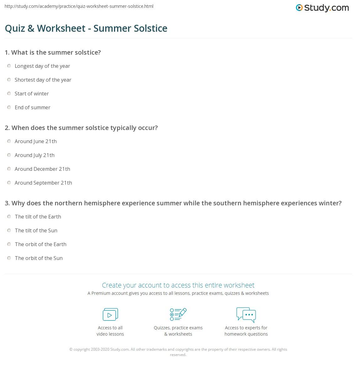 quiz worksheet summer solstice. Black Bedroom Furniture Sets. Home Design Ideas