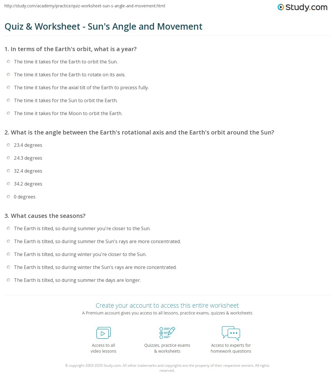 Quiz Worksheet Suns Angle And Movement Study
