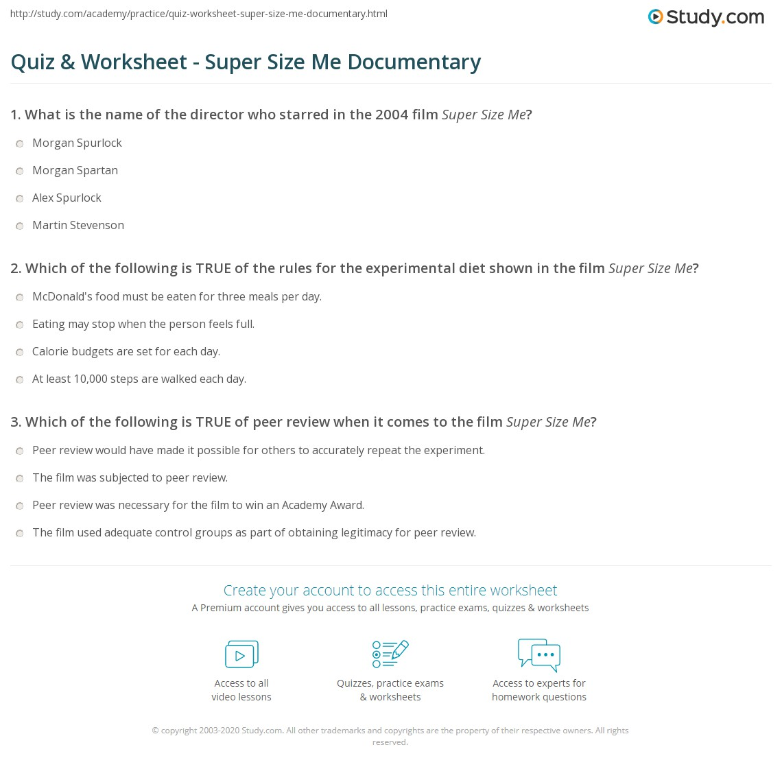 Worksheets Supersize Me Worksheet Answers quiz worksheet super size me documentary study com print movie facts summary worksheet