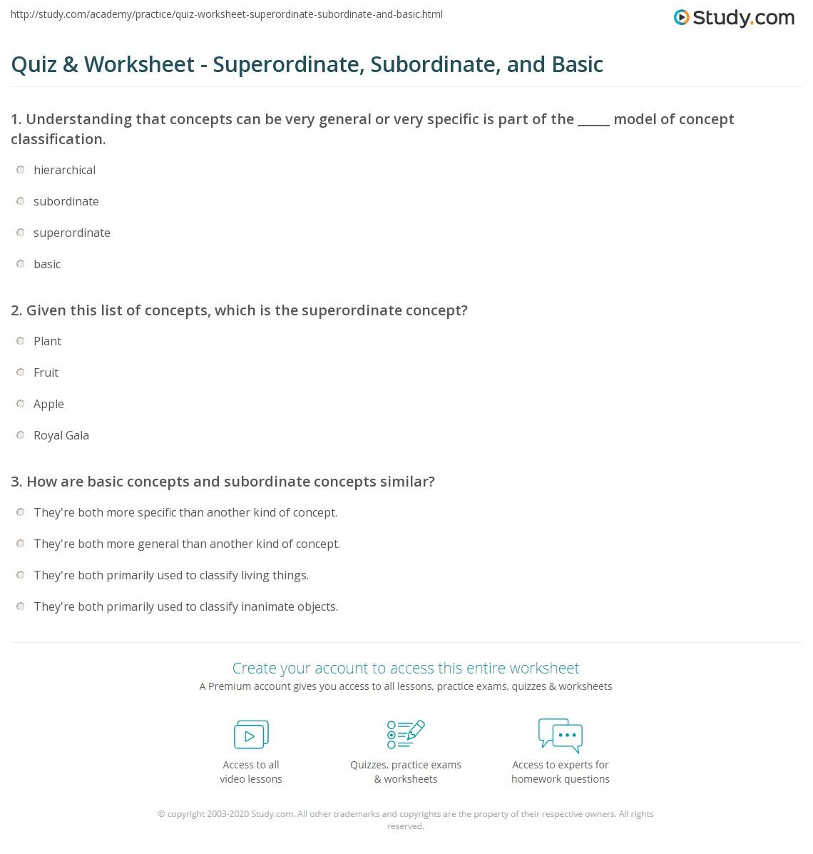 superordinate examples