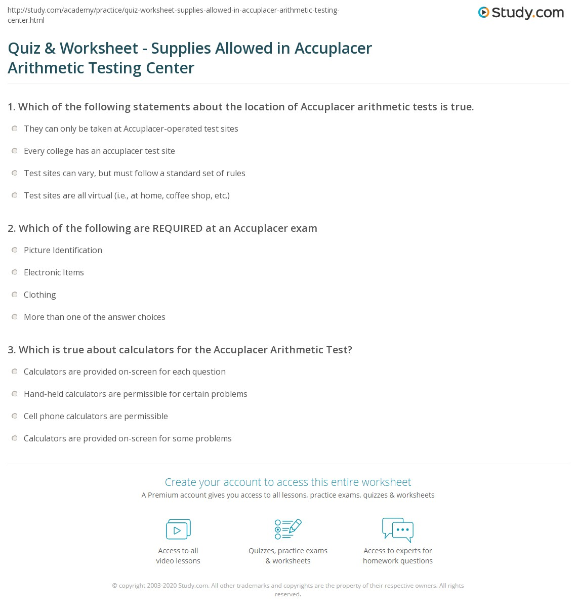 Quiz & Worksheet - Supplies Allowed in Accuplacer Arithmetic