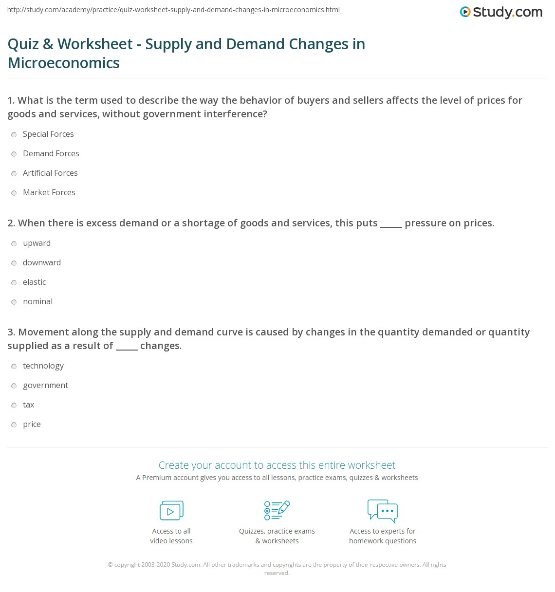 quiz worksheet supply and demand changes in microeconomics  print causes of supply and demand changes in microeconomics worksheet
