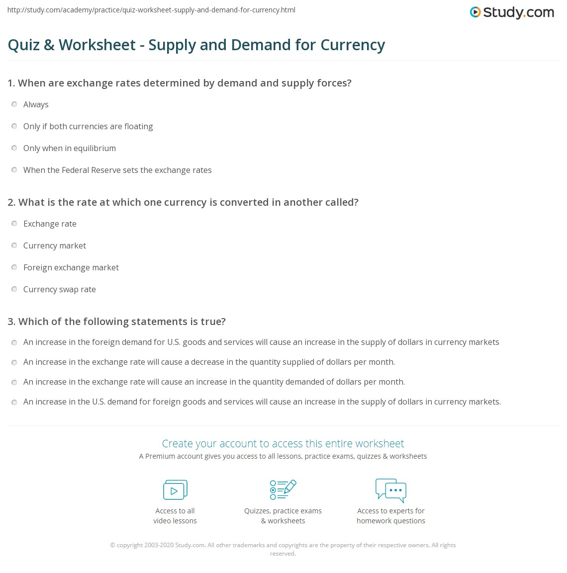 Worksheets Supply And Demand Worksheets quiz worksheet supply and demand for currency study com print foreign exchange worksheet