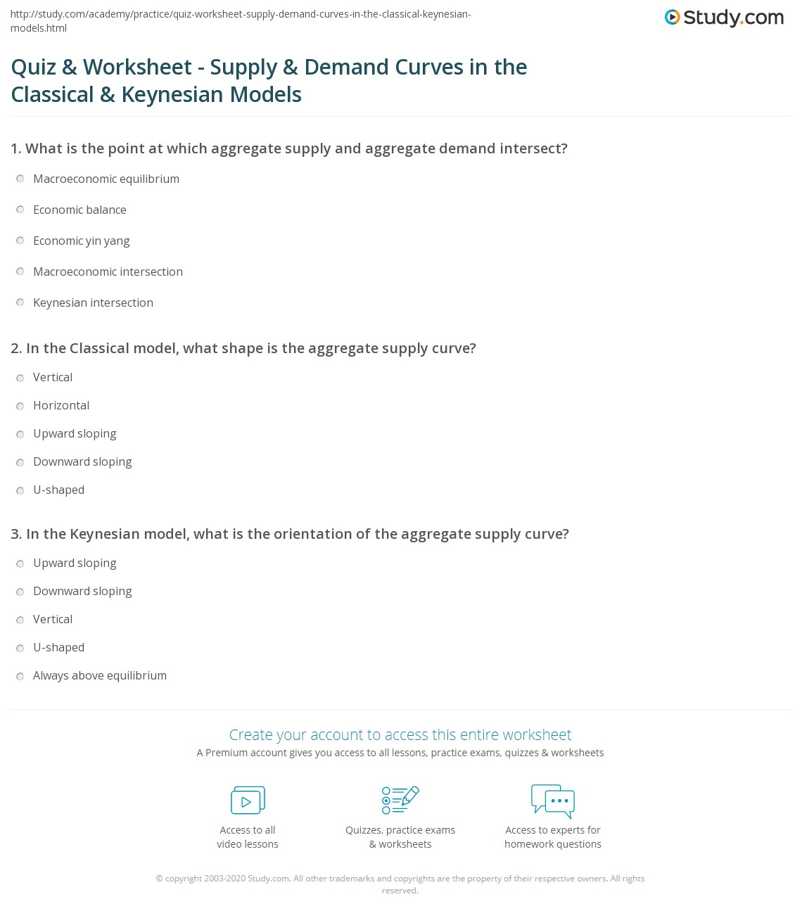 Worksheets Supply And Demand Worksheet quiz worksheet supply demand curves in the classical print and model keynesian worksheet