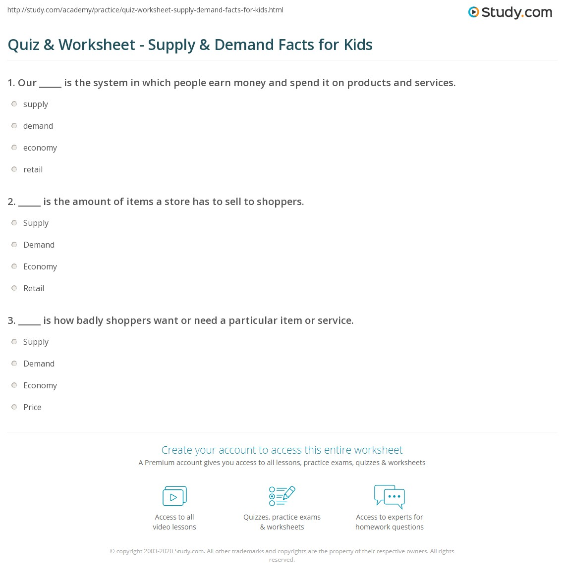 Quiz Worksheet Supply Demand Facts For Kids Study Com