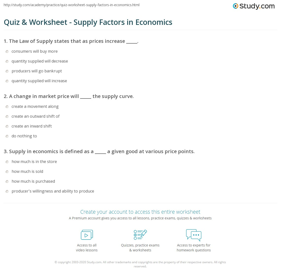 quiz worksheet supply factors in economics. Black Bedroom Furniture Sets. Home Design Ideas