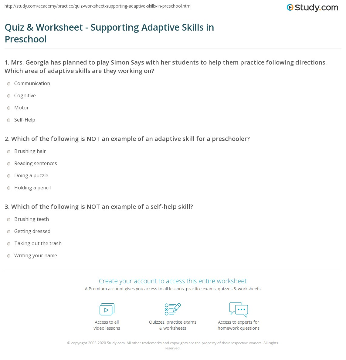 worksheet Following Directions Worksheet Preschool quiz worksheet supporting adaptive skills in preschool study com print worksheet