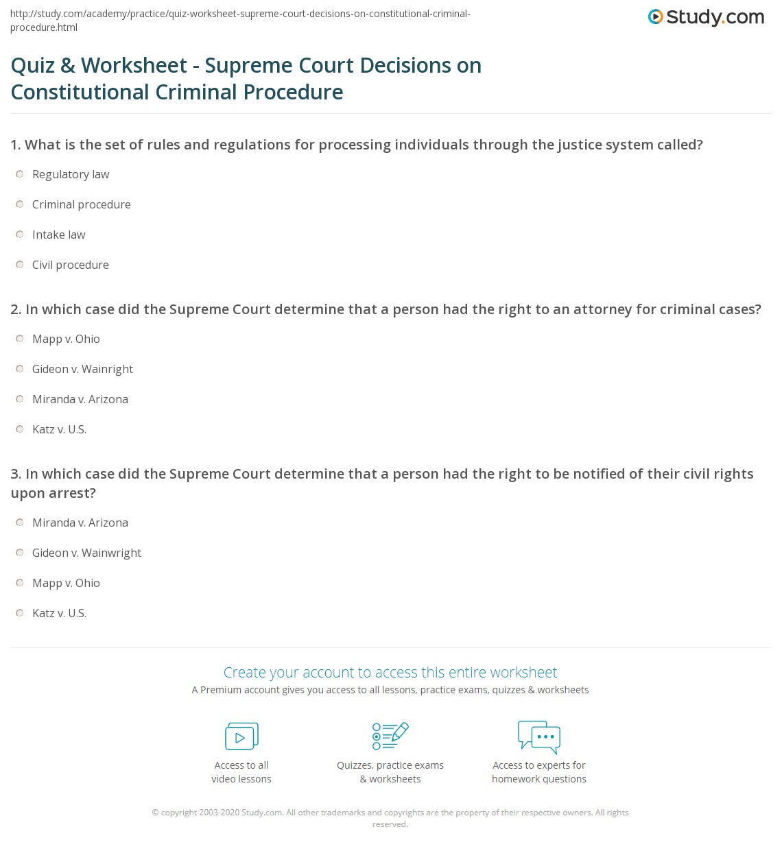 quiz worksheet supreme court decisions on constitutional criminal procedure. Black Bedroom Furniture Sets. Home Design Ideas