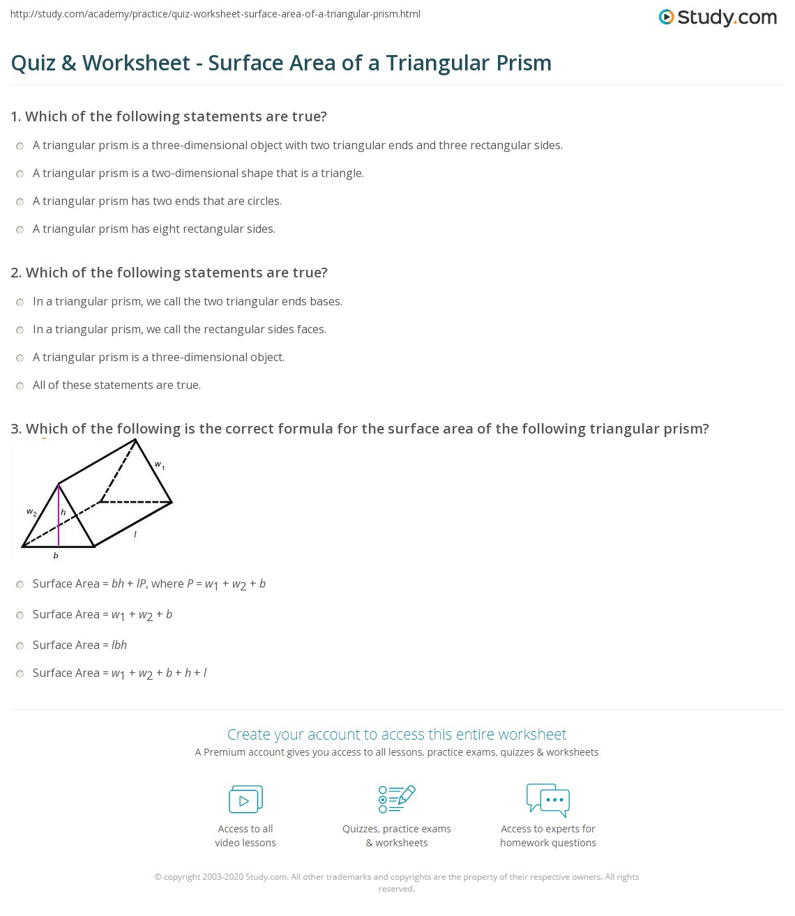 worksheet Surface Area Of Triangular Prism Worksheet quiz worksheet surface area of a triangular prism study com print worksheet