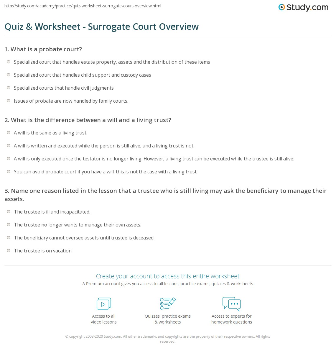 quiz & worksheet - surrogate court overview | study
